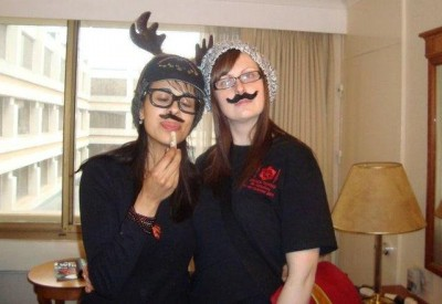 AT5 - Kate and Jandyra - Faux moustaches and Antlers