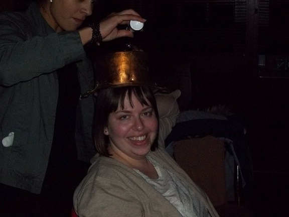 Pouring salt onto a saucepan on her head is ALWAYS a good idea!