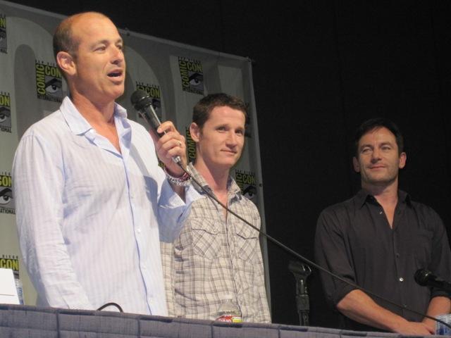 Howard Gordon, Kyle Killen, and Jason Isaacs od Awake!