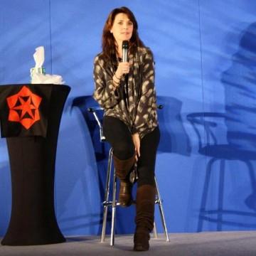 AT5 Amanda smiles during first panel