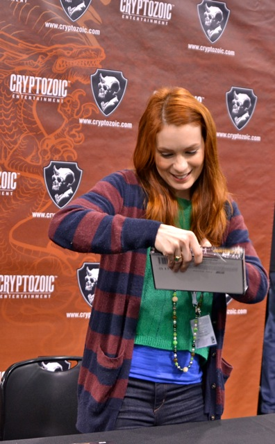 Felicia Day with her The Guild trading cards!