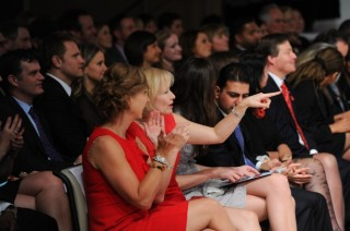 The Heart Truth Canada Mrs Laureen Harper and Bobbe Wood at 2012 Wonder Fashion Show.