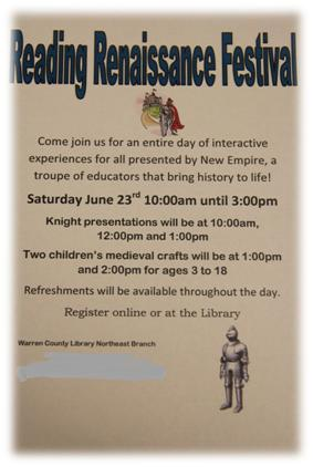 Warren County Reading Renaissance Festival banner poster - Click to learn more!