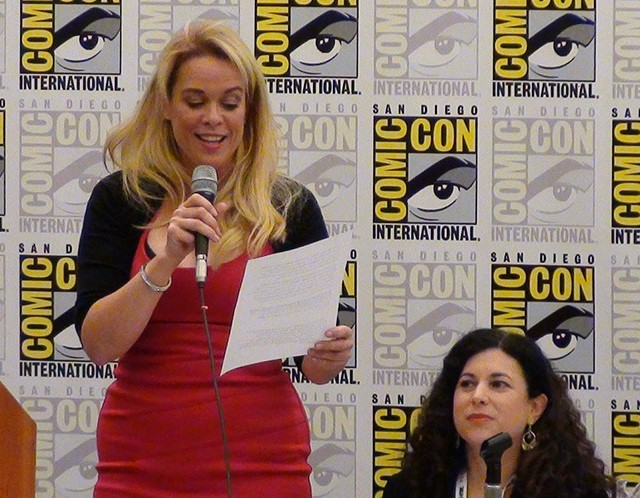 SDCC End Bullying Panel moderator Chase Masterson and co-creator Carrie Goldman