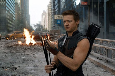 Jeremy Renner as Hawkeye from The Avengers - click to learn more at the official Marvel website!