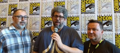 SDCC 2017 Van Helsing Press Room Chad Oakes, Neil LaBute and Mike Frislev