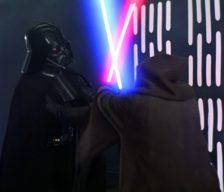 Vader and Kenobi lightsaber battle