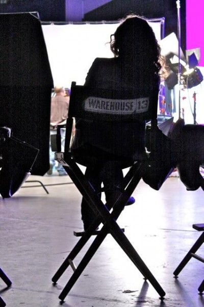 Warehouse 13 - Joanne Kelly in directors chair on set - April 2013. Image courtesy Eddie McClintock Rwitter feed